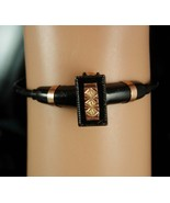 Antique rose Gold bracelet Bypass hinged Victorian black mourning cuff  ... - $225.00