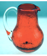 Vintage Pilgrim crackle glass mini pitcher oran... - $20.00