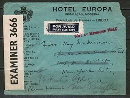 PORTUGAL Scott #594(3) on 1941 CENSOR AIRMAIL COVER LISBON to NEW YORK (... - $11.88