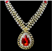 crystal gold plated elegant luxury royal formal dress necklace  - $10.00