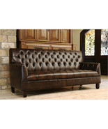 "84"" Sofa Art Deco Brown Bonded Leather Tufted Chesterfield,Gorgeous! LAS... - $1,188.00"