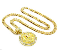 "Mens Gold Plated Lion Face Red Eyes Iced Out Pendant 30"" Necklace Cuban ... - $28.71"