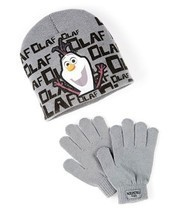 DISNEY FROZEN OLAF Snowman Face Gray Knit Beanie Winter Hat & Gloves Set... - $8.90