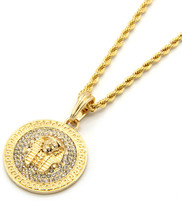 "Mens Medallion Pharaoh Gold Clear 24"" Rope Chain Pendant Necklace - $13.85"