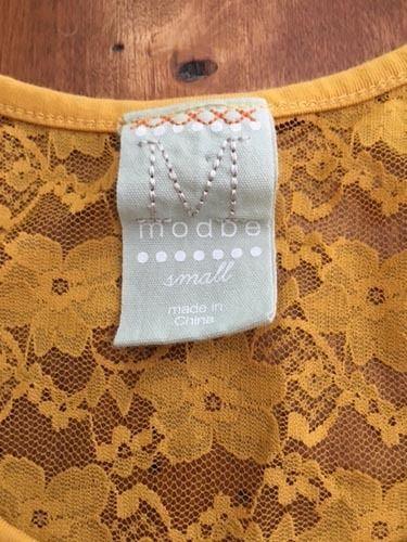 Modbe Goldenrod Lace Tank Gold Yellow Stretch Small S EUC image 4