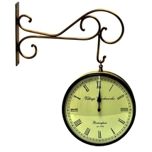 Vintage Clock Double Side (Railway Style) Clock 10 Inches - £84.88 GBP