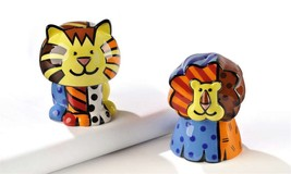 Romero Britto Salt & Pepper Shakers Lion Design #331318 NEW