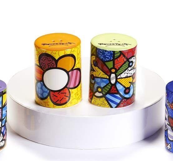 Romero Britto Ceramic Salt & Pepper Shakers - Flower & Butterfly Design NEW