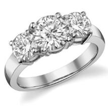 2.50CT Forever One Moissanite 4 Prong 3-Stone Ring 14K White Gold  - $1,218.00