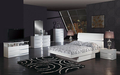 Global Furniture Chic Modern AURORA-WH White Veneer Wood King Bedroom Set