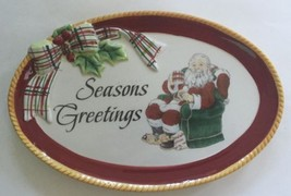 Fitz And Floyd Dear Santa Sentiment Tray Small Holiday Plate Seasons Greetings - $15.83