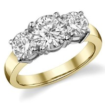4.50CT Forever One Moissanite 4 Prong 3-Stone Ring Two Tone 14K Gold  - $1,918.35