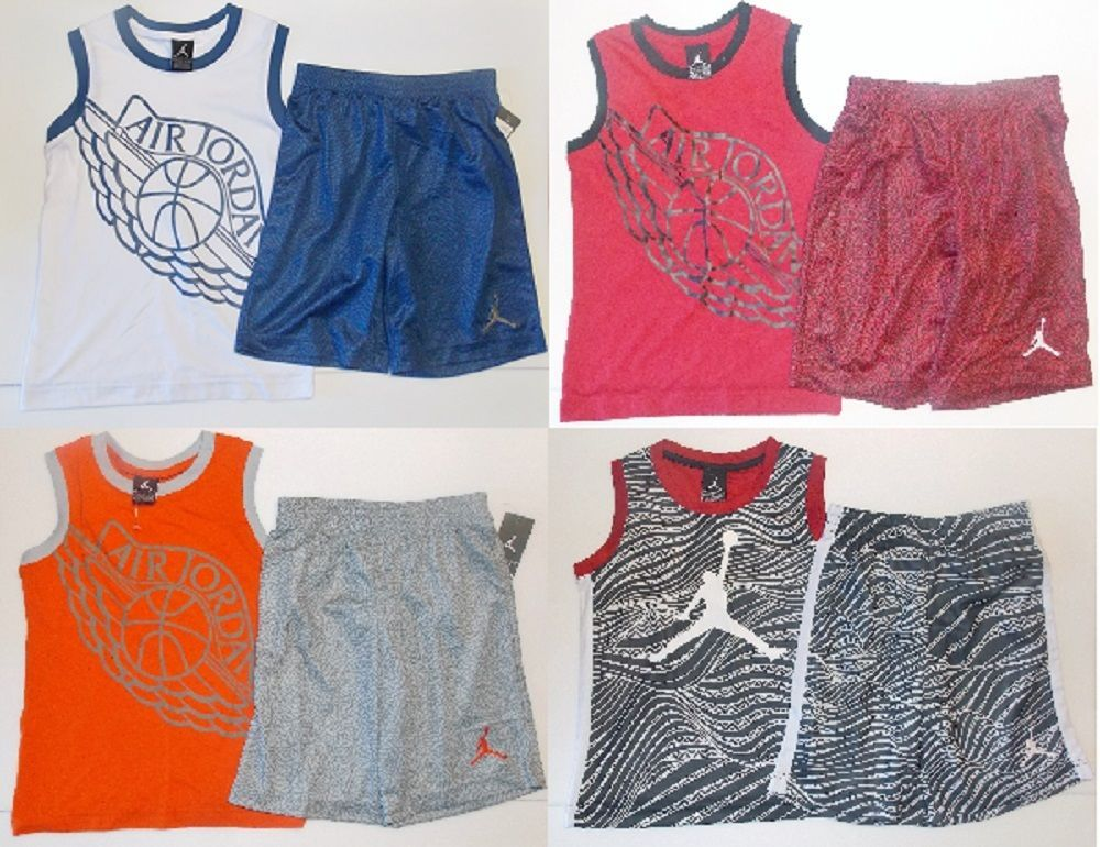 fc8b52951a1e90 Air Jordan Young Boys Tank Top and Shorts Outfit 4 Choices Sizes 6 or 7 NWT