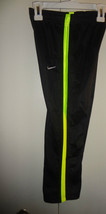 Nike Boys Athletic Pants Black with Neon Yellow Stripes on Sides Size 4 NWT - $14.54