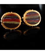 Unusual Agate cuff links UNUSUAL stripes Gold cuff links Wedding Tuxedo ... - $95.00