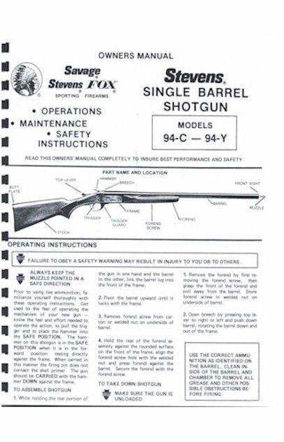 Savage Stevens 94-C - 94-Y Single Barrel Shotgun Owners Manual Handbook