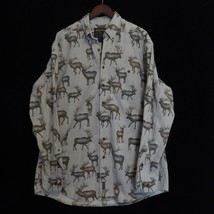 XL LONG Woolrich Mens Long Sleeve Tan Cotton Flannel Deer Hunting Button... - $24.70