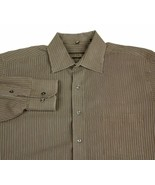 Donald Trump Signature Collection Brown Pinstriped Dress Shirt 16 1/2 34... - $22.99