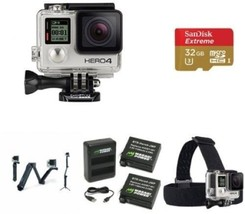 GoPro Video Camera HERO4 SILVER Extreme Bundle Head Strap Quick Clip Mou... - $569.73