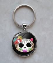 Kitty Cat Sugar Skull Dia De Los Muertos Keychain - $14.00+