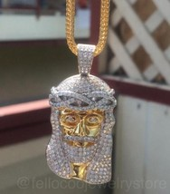 Mens Gold Jesus Piece And Franco Chain Necklace 18k Gold And Rhodium Plated - $22.05