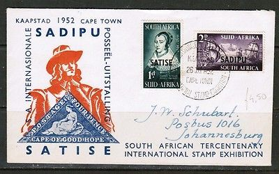 """SOUTH AFRICA Scott #120-1 on FIRST DAY COVER """"CAPETOWN STAMP EXHIBIT"""" (OS-263)"""