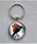 Black Crow Raven Red Rose Bird Goth Emo Victorian Style Keychain - $14.00+