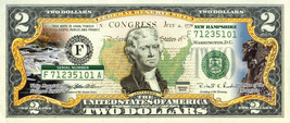 NEW HAMPSHIRE State/Park COLORIZED Legal Tender U.S. $2 Bill w/Security ... - $14.95