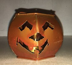 Vintage Metal JACK-O-LANTERN~ Pumpkin TEALIGHT Candle Holder ~HALLOWEEN~ - $8.60