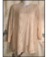 Dana Buchman Peach Lace 3/4 sleeve round-neck blouse camisole pullover N... - $22.00