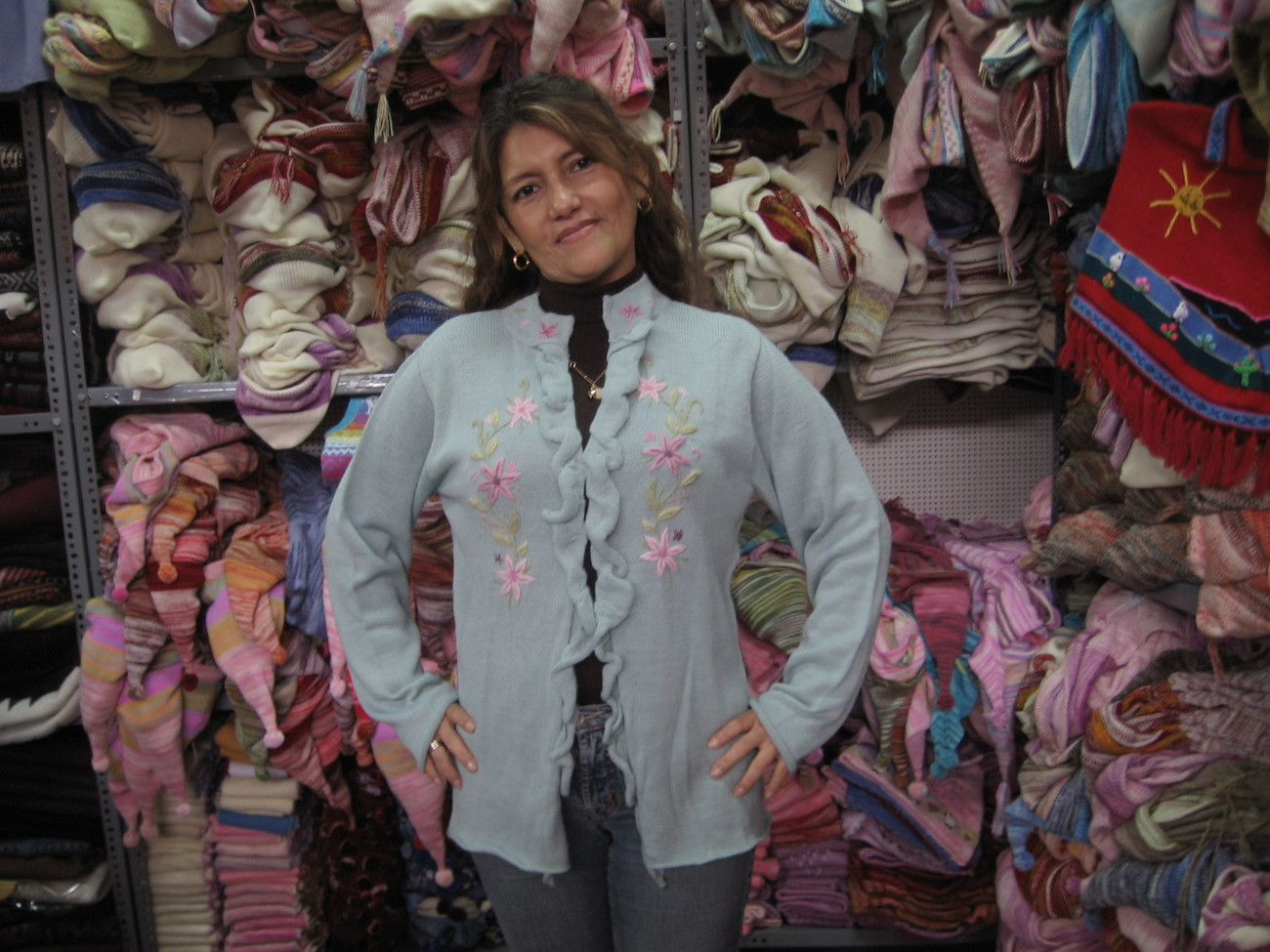 Ladies cardigan,jumper made of pure Alpacawool & hand embroi - $148.00