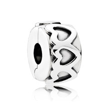 925 Sterling Silver Row of Hearts Clip Charm Bead QJCB993 - $19.86