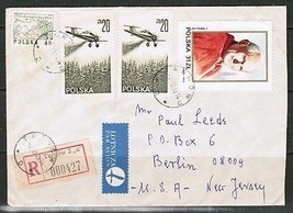 POLAND Scott #C55(2) & 2574 REGISTERED AIRMAIL COVER to USA (2/8/83) (OS... - $3.96