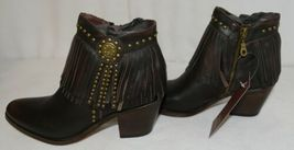 Lucky And Blessed SH 11 Dark Brown Leather Boots Fringe Metal Studs Size 6 image 4