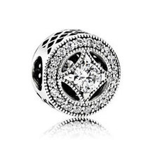 925 Sterling Silver Vintage Allure with Clear Cz Charm Bead QJCB970 - $21.99