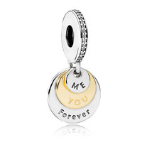 925 Sterling Silver & 14K Gold You & Me Forever Pendant Charm Bead QJCB995 - $37.88