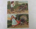 Antique Embossed Thanksgiving Greetings Postcards - Children with Turkeys