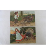 Antique Embossed Thanksgiving Greetings Postcards - Children with Turkeys - $10.99