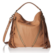 Rebecca Minkoff Fringe Moto Hobo Shoulder Bag, Butter Rum, One Size - $197.99