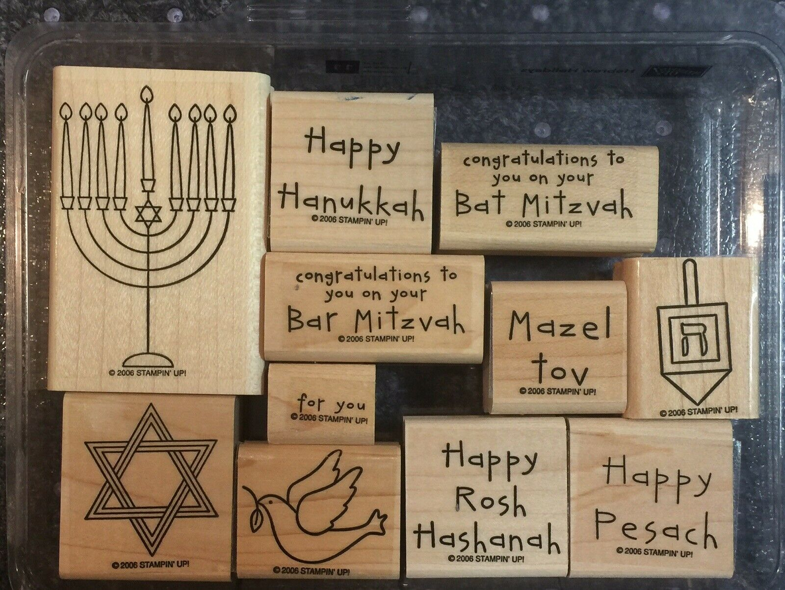 Primary image for Stampin' Up HEBREW HOLIDAYS Stamp Set OF 11  Wood Blocks-USED