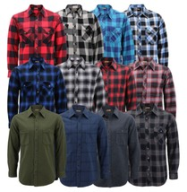Men's Premium Cotton Button Up Long Sleeve Plaid Comfortable Flannel Shirt
