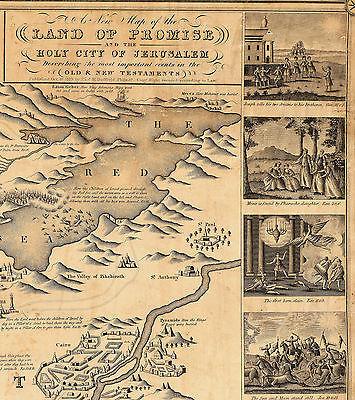 1823 Pictorial Map Jerusalem Palestine Vintage Art Poster Print Wall ...