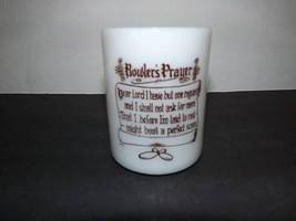 Federal Glass Bowler's Prayer Collectible Milk Glass Mug Cup Bowling Vin... - $12.64