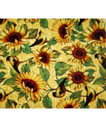 Sunflower Yellow Flowers and Birds Cotton Fabric  - $6.00