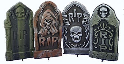 Set Of 4 16 Asst. Halloween Foam Tombstones, Props, Yard Decorations And