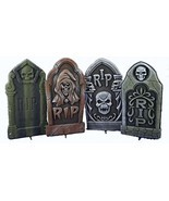 Set Of 4 16 Asst. Halloween Foam Tombstones, Props, Yard Decorations And - £34.87 GBP