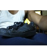 BLACK ADIDAS shell toes SIZE 5 athletic sneakers - $20.94