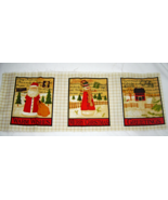 Christmas Stamp Fabric Includes 6 Small Panels Cotton Fabric  - $6.00