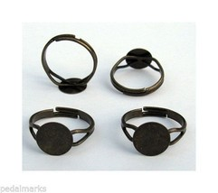 10 Antique BRASS Adjustable RING BLANKS with 10mm Flat Round pad ~ NICE - $4.42