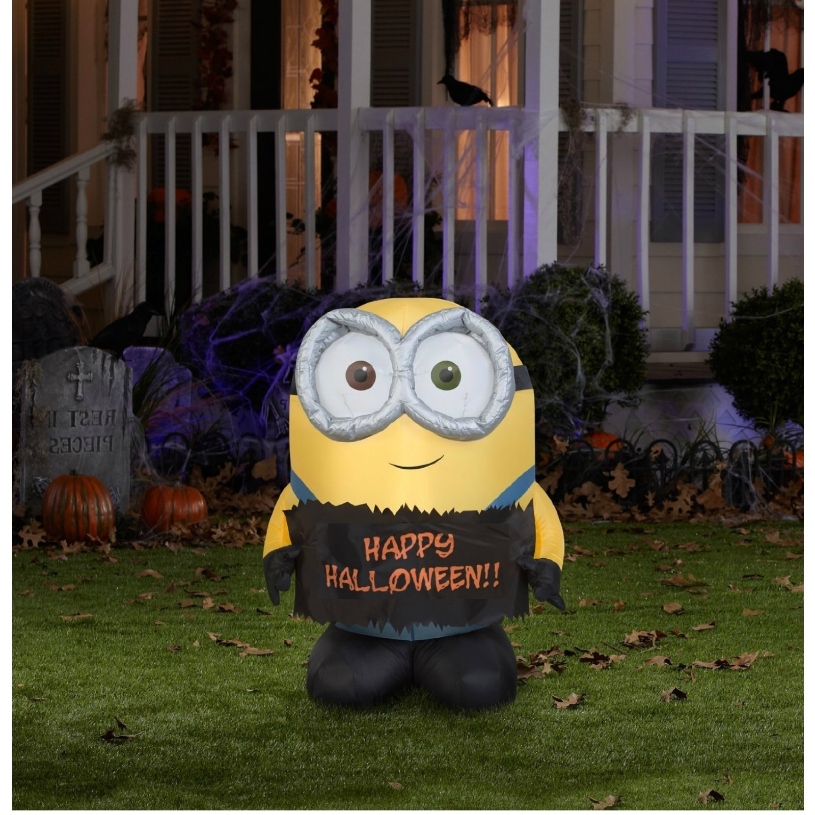 Inflatable halloween minion decoration 3 foot bob outdoor for Airblown decoration